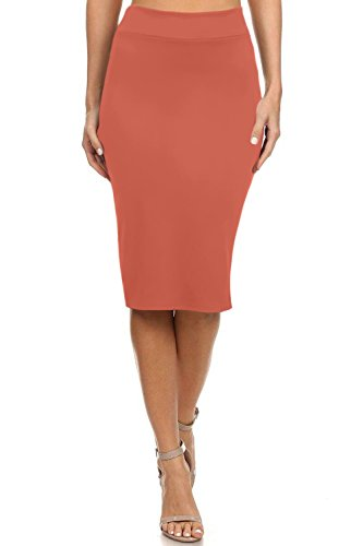 Women's Below the Knee Pencil Skirt for Office Wear - Made in USA Coral Medium