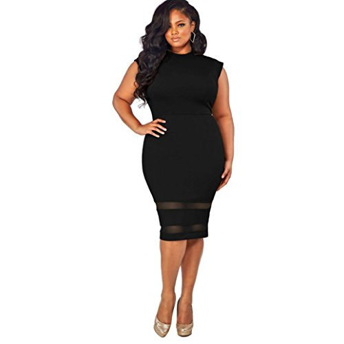 GoodLock Women Girls Fashion Dress Lady Female Plus Size Design Solid Sleeveless Gauze Splice Party Mini Dress (Black, Size:XXXL)