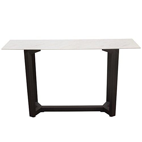 - Caplan Rectangular Console Table with Ceramic Marble Glass Top and Black Powder Coat Base , Included TABLE TOP, BASE 1, BASE 2 by Diamond Sofa - # CAPLANCSMA