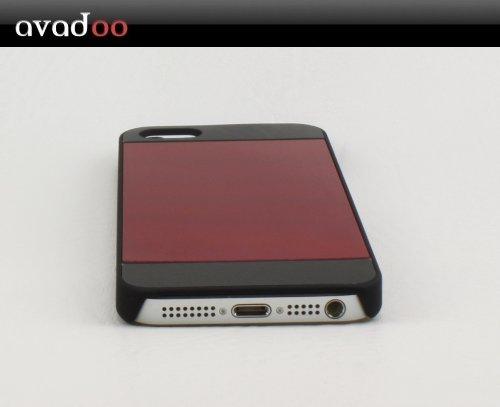 iPhone 5 Aluminium Hülle Rot / Schwarz Luxus Hard Case Schutzhülle Tasche rot - Avadoo Design Schutzkappe mit gebürsteten Aluminium in rot für das neue Apple iPhone 5