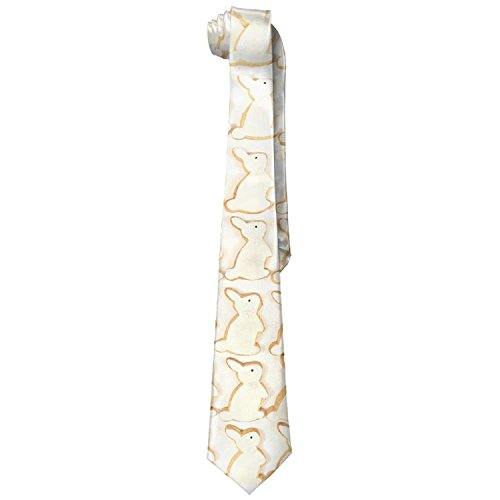 Iced Bunny Rabbit Cookies Men's Fashion Polyester Solid Silk Tie Necktie (Cookies Iced Wedding)