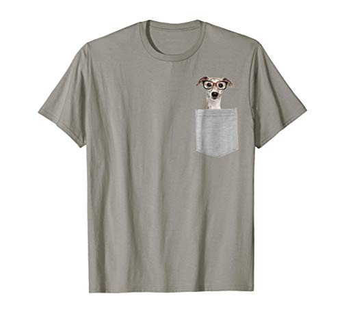 Dog in Your Pocket Greyhound with glasses on t shirt shirt
