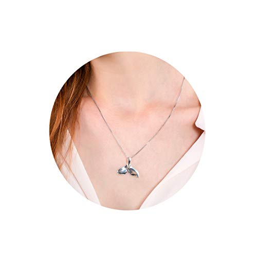 Fettero Mermaid Tail Fish Pendant Necklace Silver Plated Animal Dolphin Whale Tail Charm Pendant 18