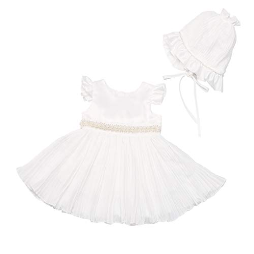 (Baby Girls Ruffle Sleeves Pearls Empire Waist Chiffon Christening Gown Baptism Dress with Bonnet Ivory Size 3M / 0-3Months)