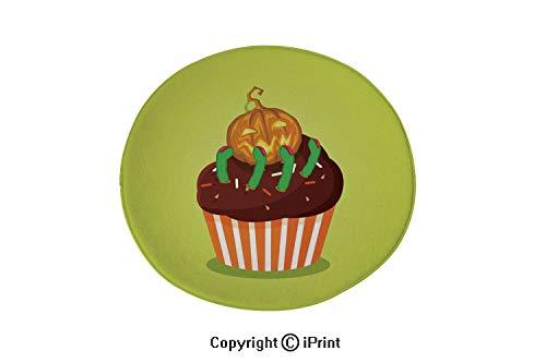 LEFEDZYLJHGO Indoor and Outdoor Door Mat,Round Non-Slip Doormats,Non-Slip,Cute Happy Halloween Cupcake with Pumpkin Jack and Scary Green f,4 ft Diameter]()