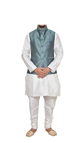 (Mag Men's White Matching silk Kurta Churidhar With Turquoise Waistcoat (RG-10584-44))