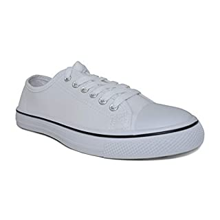 Charles Albert Women's Classic Canvas Lace-Up Low-Top Sneaker in White Size: 8