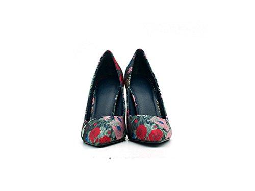 Frauen NVXIE Persönlichkeit Frühlings Tendenz 35 Sommer Stilett flache Absatz Absätze Schuh Spitzen stickte hohe einzelne 39 wwrxvq