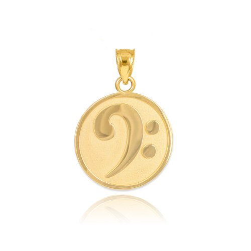Gold 14k Music Charm (Solid 14k Yellow Gold Music Note Charm Bass Clef Pendant)