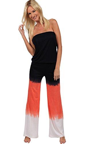 Ingear Summer Jumper Long Tie Dye Strapless Beach Romper Playsuit Jumpsuit (Xlarge, Orange)