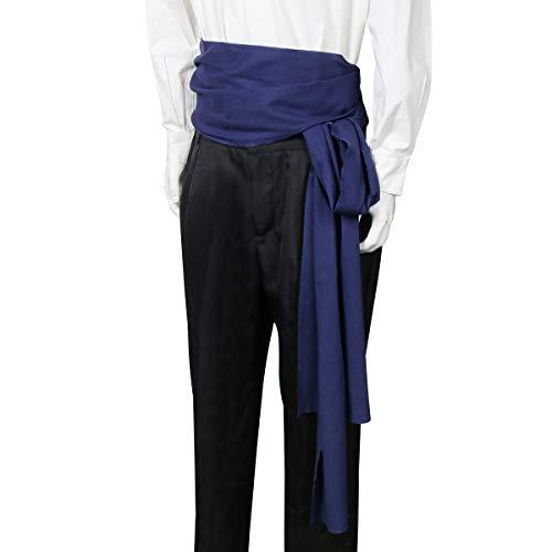 COSFLY Men Pirate Medieval Renaissance Large Sash Halloween Costume Waist Sash Belt Accessory (Navy)]()