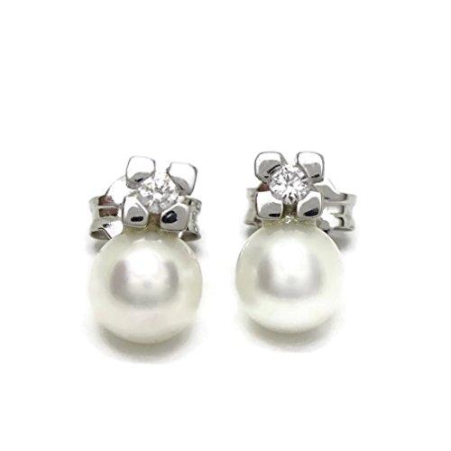 bd245a2dcec8 Preciosos pendientes con diamantes de 0.10cts y oro blanco de 18Ktes con perla  cultivada de