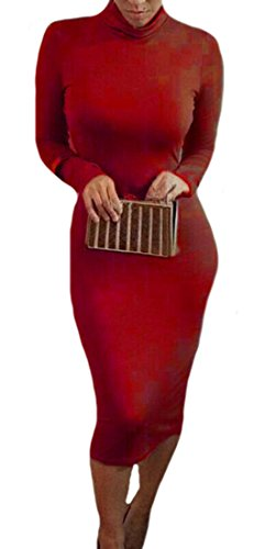 Donne Colore Manica Cruiize Di Aderente Delle Lunga Rosso Piccolo Vestito Sexy Midi Clubwear Solido tAwv56qw