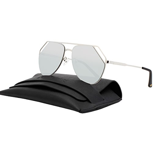 VIVIENFANG Mirrored Flat Lens Aviator Sunglasses Cut Out Metal Frame Sunglasses For Unisex 87554A - Eyewear Diff Like Sunglasses