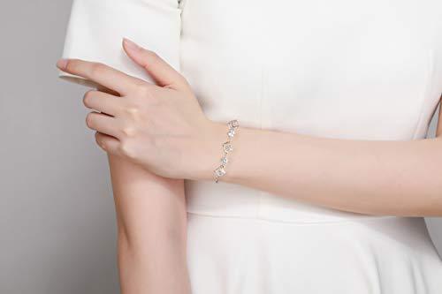 ROYANI Pulsera de circonita cúbica para Mujer Pulsera de estación de CZ de Plata esterlina 925 Pulsera Elegante de Tenis Brillante, 21cm (Blanco)