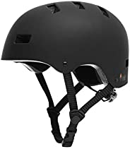 Vihir Skateboard Helmet Adult for Women Men - Skate Scooter Sport Helmet, Black, Small, Medium, Large, with 10