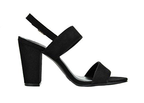Heel Toe Open Pump Sandals suede Mid Stella Women's Black TOETOS Chunky FqyRWtfYfw