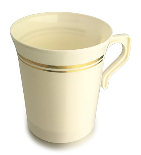 Heavyweight Disposable Wedding Party Plastic 8 oz Coffee Mugs Gold Trim/Tea Cups/Cappuccino Cups/Espresso Cup with Handles (8 oz Coffee, Ivory/Gold Rim) ()