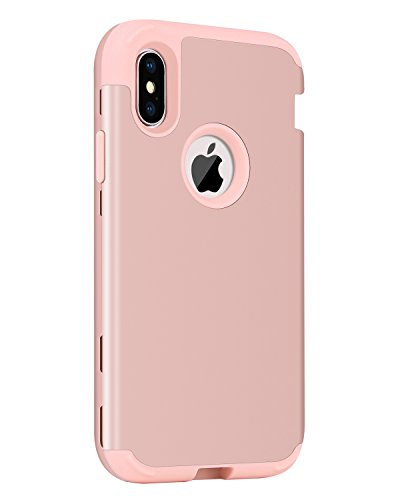 """iPhone X Case, iPhone Xs 2018 Case, BENTOBEN Heavy Duty Shockproof 3 Layer Hybrid Hard PC Soft Silicone Protective Phone Cover with Front Rugged Bumper for Apple iPhone X 2017/XS 2018 5.8"""", Rose Gol"""