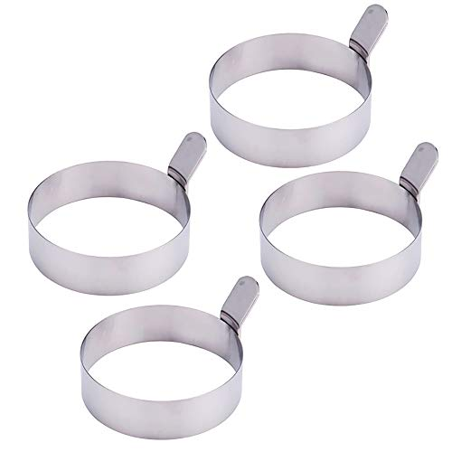 Egg Ring, 4 Pcs 3 Inch Stainless Steel Fried Egg Mold for Cooking Non Stick Pancake Rings Metal Kitchen Cooking Tools