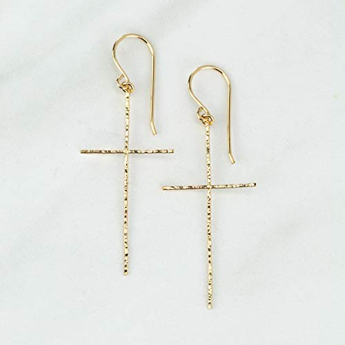 Cross Earrings with Hammered Texture in 14K Gold Fill