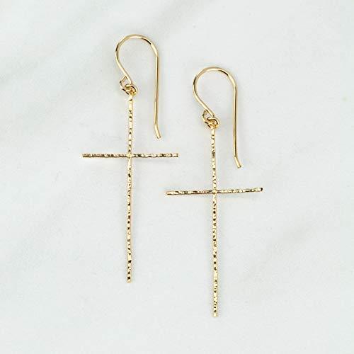 Cross Earrings with Hammered Texture in 14K Gold Fill - Handmade Cross Earrings