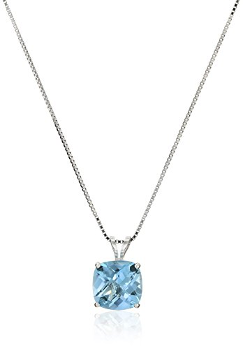 Sterling Silver Cushion-Cut Checkerboard Swiss Blue Topaz Pendant Necklace (8mm)