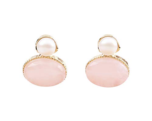 (Heaven's Hailey Vintage Pink Rose Quartz and Pearl Stud Earrings for Women/Girls - 'You're a Gift' Special Occasions & Daily Wear Accessories Silver Post Comes in a Gift Box, Handcraft Jewelry)