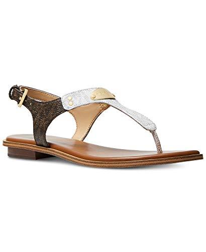 Michael Leather Kors Thongs (Michael Michael Kors MK Logo Plate Flat Thong Sandals, Optic White/Brown (9.5 M))