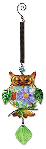 - Sunset Vista Designs Metal and Glass Owl with Floral Belly Bouncy Hanging Decoration