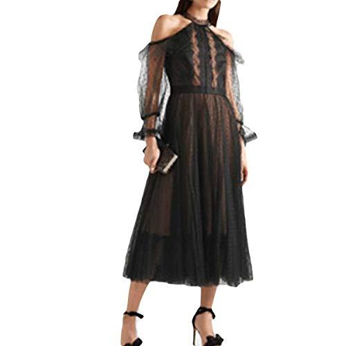 Malla Alta Halter De Vestido Cintura Lunares Cuello Black Y Frío Con Hombro Gfsoediden Elegante pSRHn