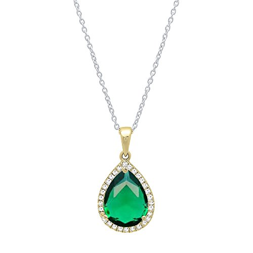 (Dazzlingrock Collection 18K 10X7 MM Pear Cut Lab Created Emerald & Round Cut Diamond Ladies Pendant, Yellow)