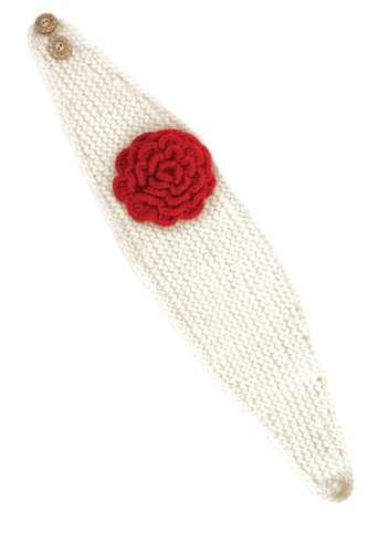 Nirvanna Designs HB01 Detachable Flower Headband with Buttons and Fleece, White