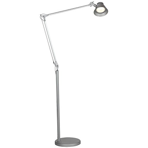 Brightech Contour LED Reading Floor Lamp - Super Bright LED's - Full Spectrum Light - Architectural Grade - Brushed Anodized Aluminum - 8 Watts