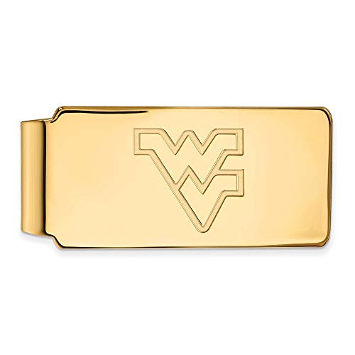 (Roy Rose Jewelry Sterling Silver with 14K Yellow Gold-plated LogoArt West Virginia University Money Clip)