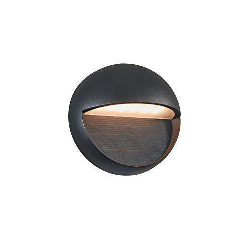 (MICSIU LED Aluminum Wall Mount Light Outdoor Indoor Wall Sconce, ADA Compliant. UL Listed. Textured Black (Round Wall Light) )