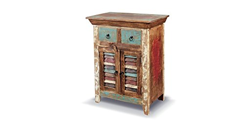 Crafters and Weavers Rustic Distressed Reclaimed Solid Wood Curio Cabinet. Two Drawers and Shuttered Cabinet Doors.