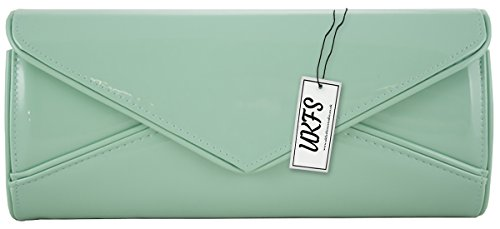 Quality Evening Leather Bridal Pleated Light Green Ladies UKFS Clutch Handbag Bag Wanwq1g