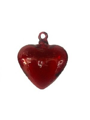 Mexican Blown Glass Red Hanging Hearts Large (Set of (Red Glass Heart Ornaments)