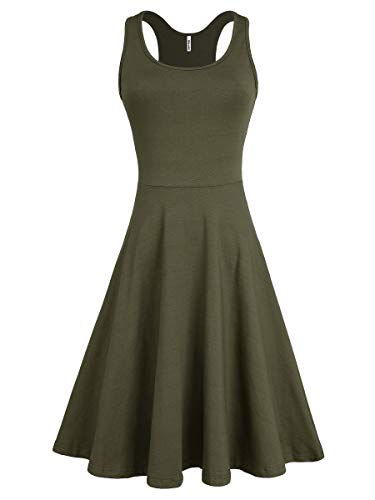 Missufe Women s Casual Sundresses Sleeveless Racerback Fit and Flare Knee  Length Dress Tank Army Green Skater Summer Dresses for Women (Army Green 1e3235ecf