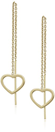 Gold Over Sterling Silver Open Heart Threader Drop Earrings