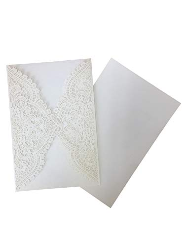 Invitations Cards Kit for Wedding Marriage Engagement Birthday Bridal Shower Laser Cut 60 pcs White -