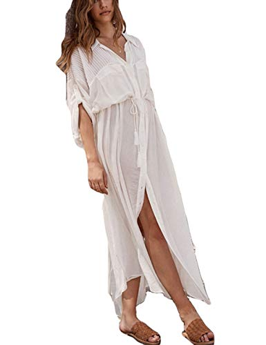 Ailunsnika White Rayon Shirt Collar 3/4 Sleeve Bathing Suit Cover Up Side Slit See Through Kimono Cardigan with Button