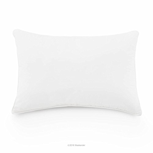 Duck Down Pillow - WEEKENDER Luxury Down Feather Pillow with 100% Cotton Fabric Cover - Fluffable Support - Standard Size