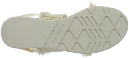 Klein Muriel Off Sandaler Stropp Ofw Hvit Lerret Jeans Calvin white Kvinners Frynser av dRtwAqax