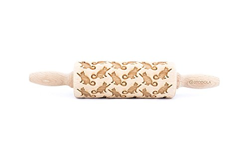 Rolling Pin Embossed With PLAYING CATS Pattern For Baking Engraved cookies Size Junior 9 inch