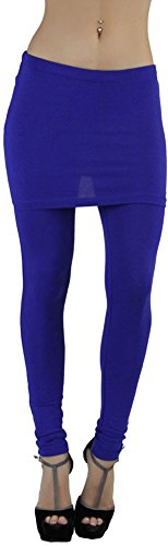 ToBeInStyle Women's Full-Length Cotton Leggings with Attached Skirt - Royal Blue - S