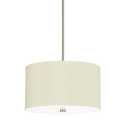 (Sea Gull Lighting 65263-962 Dayna Shade Pendants Three-Light Pendant with White Acrylic Diffuser and Faux Silk Fabric Shade, Brushed Nickel Finish)