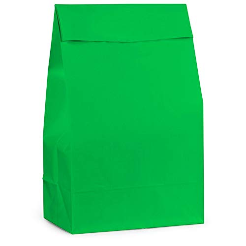 Unique Industries 12 Count Paper Party Favor Bags - Green (2 Pack, 24 Count Total)