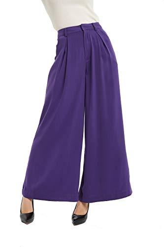 (Tronjori Women High Waist Casual Wide Leg Long Palazzo Pants Trousers(XXL, Grape Purple))